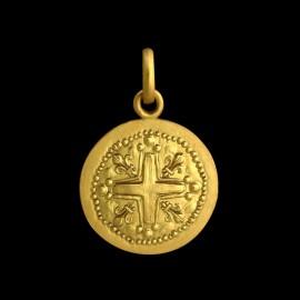 médaille de baptême croix fleur de lys
