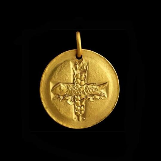 médaille bapteme or