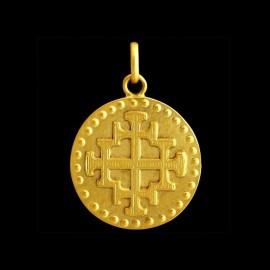 Medaille bapteme Croix de jerusalem
