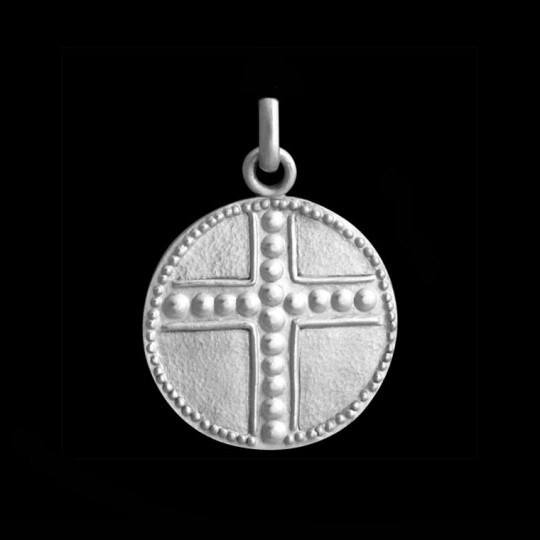 medaille bapteme croix perlée 1