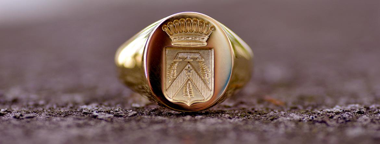 chevalière gravure héraldique signet ring